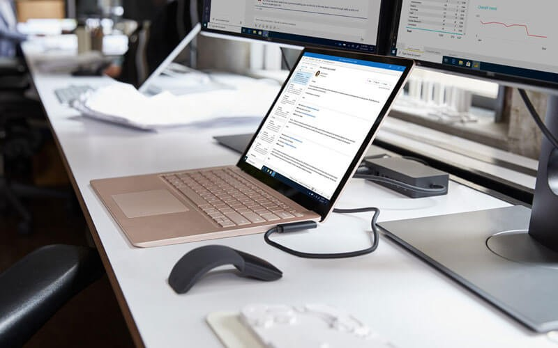 Microsoft Surface Laptop 3 set up as a user workstation